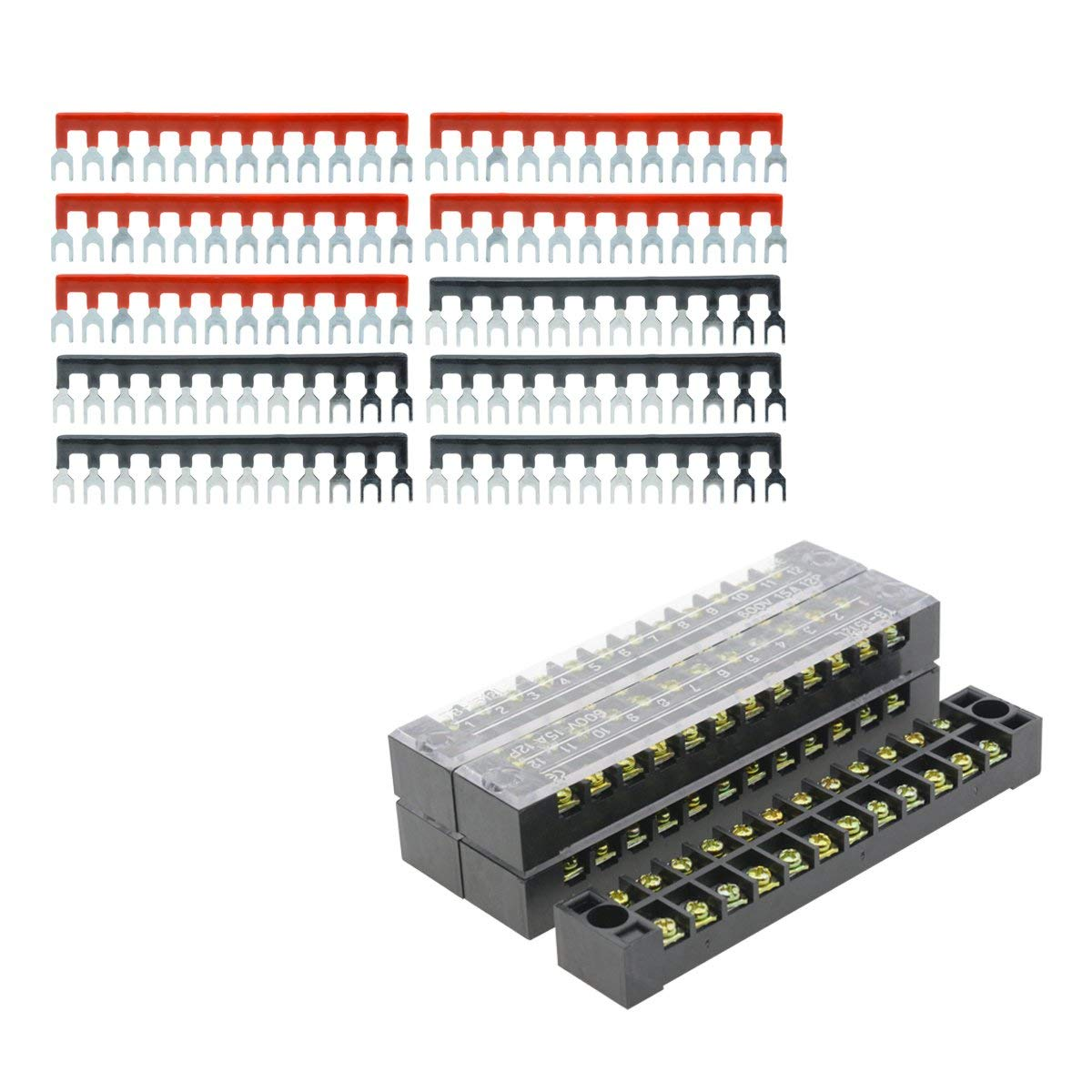 Instrumentation JJDD Double Row 3 Positions Screw Terminal Strip 600V 45A Railway,2PCS Wire Barrier Block Terminal Strip TB-4503 with Plastic Cover Suitable for Industrial Lighting