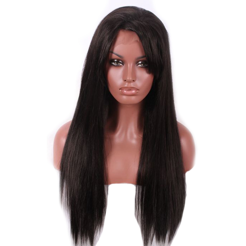 Hot 70cm New Arrival Fashion Cheap Long Straight Natural Black Fiber Synthetic Lace Front Wig Heat Resistant