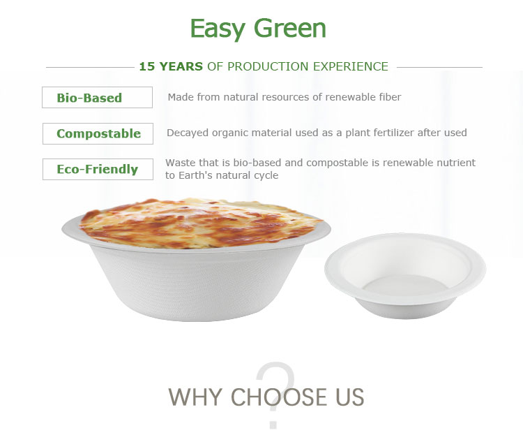 Easy Green Eco Friendly 500ml Microwavable Take Away Hot Food Container Sugarcane Pulp Disposable Paper Soup Salad Biodegradable