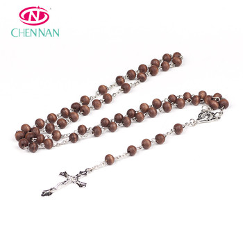 Hot Sale Chain Wooden Cross Necklace Long Wooden Bead Necklace Diy Wooden Beads Necklace Protestant Prayer Bead Prayers Buy Wooden Necklaceprayer