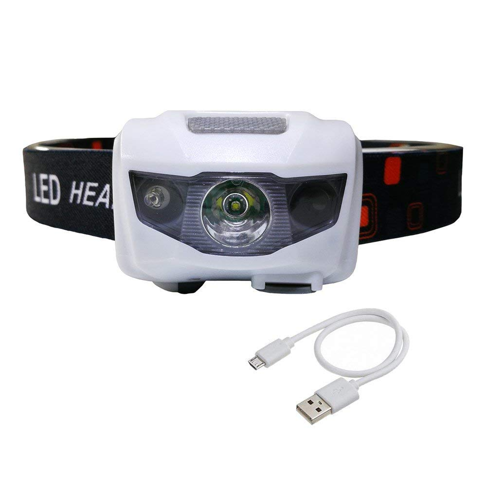 RABOW Led Headlamp Rechargeable,Build-in 1200mAh Lithium Power Battery, 3 Modes Motion Sensor Bright Headlight for Camping Running Hiking Backpacking and Hunting, USB Cable Included