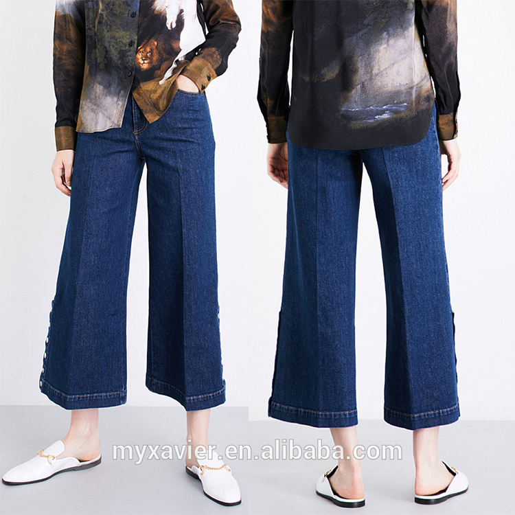 EGO New design wide leg with rivet decorate jeans for women