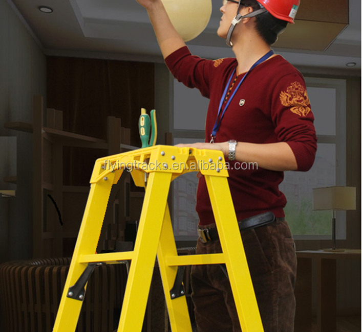 Factory price 3-14 ft FRP fiberglass double side A Insulating Ladder