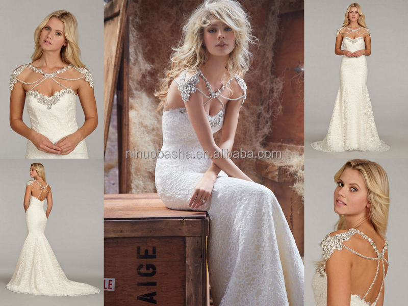 Stunning Lace Mermaid Wedding Dress 2014 Crystal Neckline Cap Sleeve Backless Long Famous Designer Bridal Gown NB0669