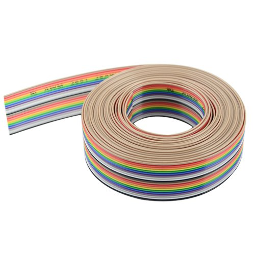 XLX 20pin Wire Rainbow Color Flat Ribbon IDC Wire Cable(16ft/5m 20Wire)