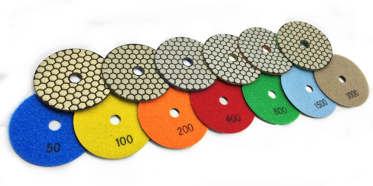 "4"" 100mm Diamond DRY Polishing Pad Abrasive Disc 9 Sets = 66 Pieces Granite Tile Marble Concrete Countertop Premium Quality Free Priority Ship"
