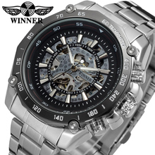 Luxury Brand Men Mechanical Wrist Watches Golden Stainless Steel Fashion Skeleton WINNER Men's Automatic Watch Relojes Hombre