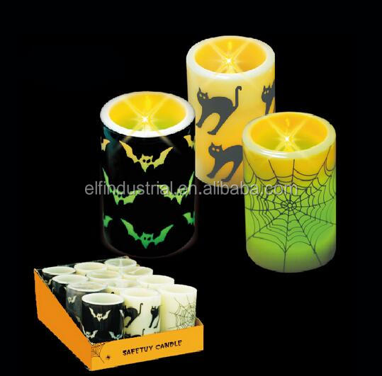 Online shopping hong kong battery operated customised flameless pillar 4 3/8 inch halloween led candle lights