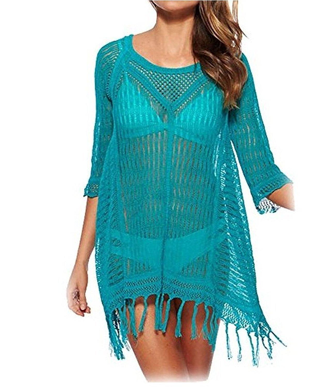 NINEWE Crochet Tunic Tassel Hollow Beach Bikini Swimsuit Cover up