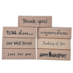 7pk thank you congrationlations happy birthday wood mounted custom rubber stamps