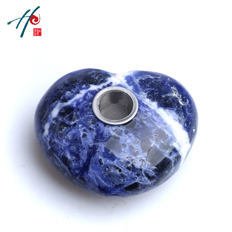 HJT Natural Quartz <strong>crystal</strong> Blue - grain pipe Heart decorative arabic smoking weed pipes