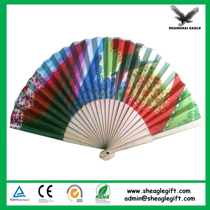Wooden paper folding fan with printing