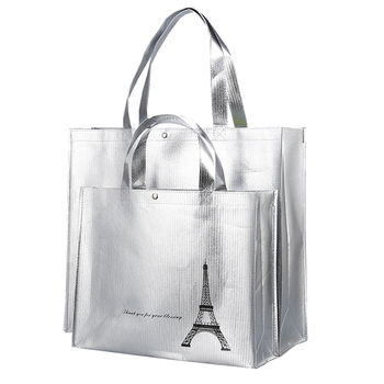Metallic gold foils laminated non woven fabric green tote shopper bags
