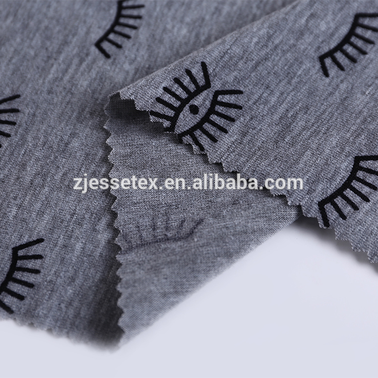 Eye lash print t-shirt 100 spun polyester grey fabric for t-shirt