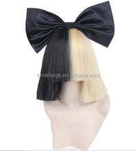Synthetic white short straight special half and half color wig with black bow N454
