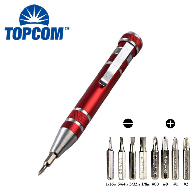 Phillips Bits Pocket Magnetic Mini precision Multi screwdriver Pen Tool 8 in1 screwdriver set