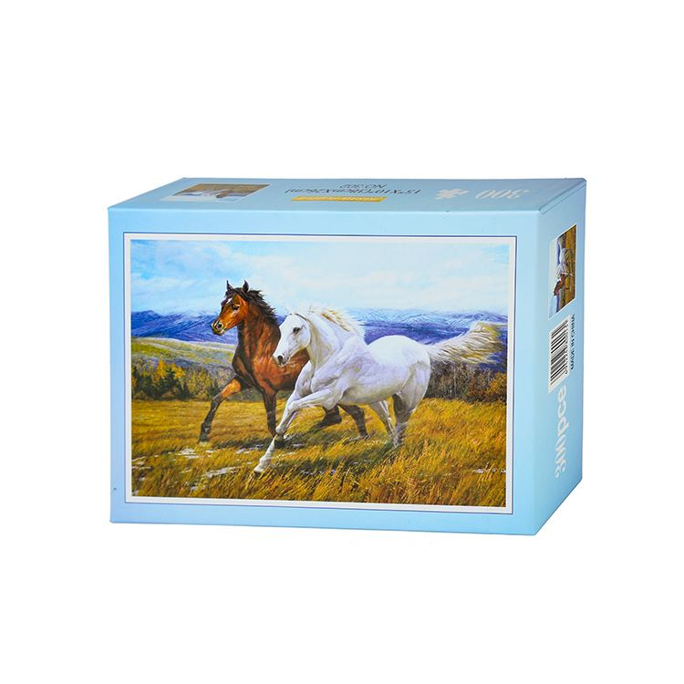 Newest sale 300 pcs brown white horses picture durable personality frame jigsaw puzzle