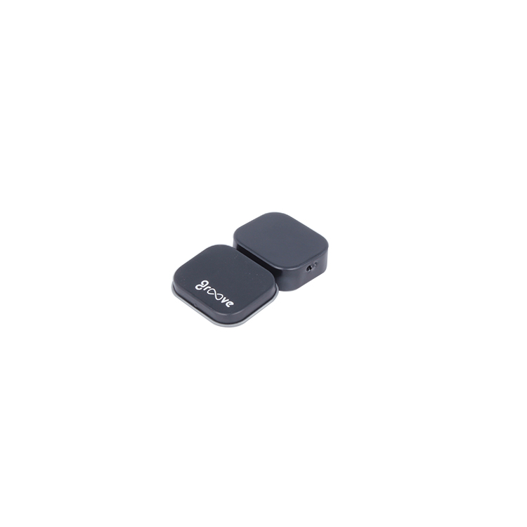 Simple square black metal tin box for headset packaging