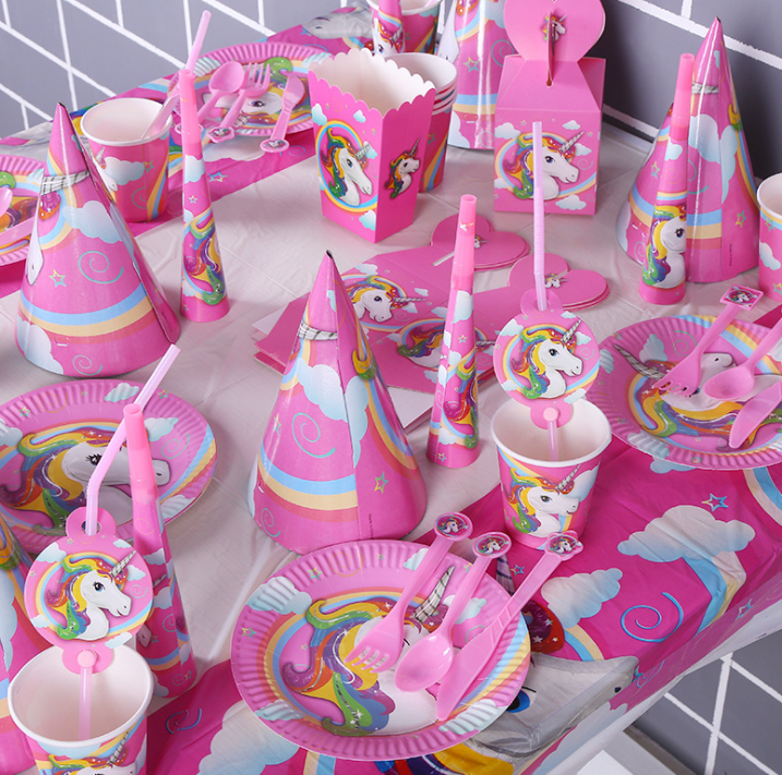 Unicorn Theme Party Rainbow Majesty Unicorn Birthday Party Supplies