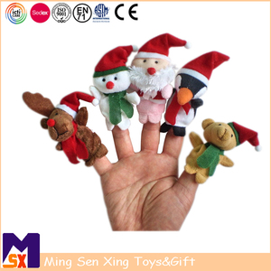 Christmas toy factory personalized custom stuffed plush christmas finger puppet toy