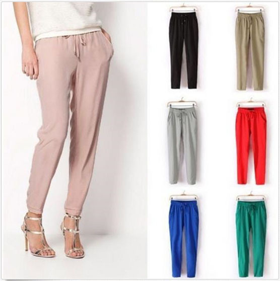 New Women Formal Pants Summer High Waist Career Business Black Blue Wide Leg Trousers Fashion ...