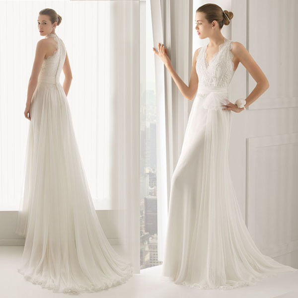 Custom Made Wedding Dress Greek Inspired: Custom Made Pregnant Wedding Dress V Neck Sleeveless Floor