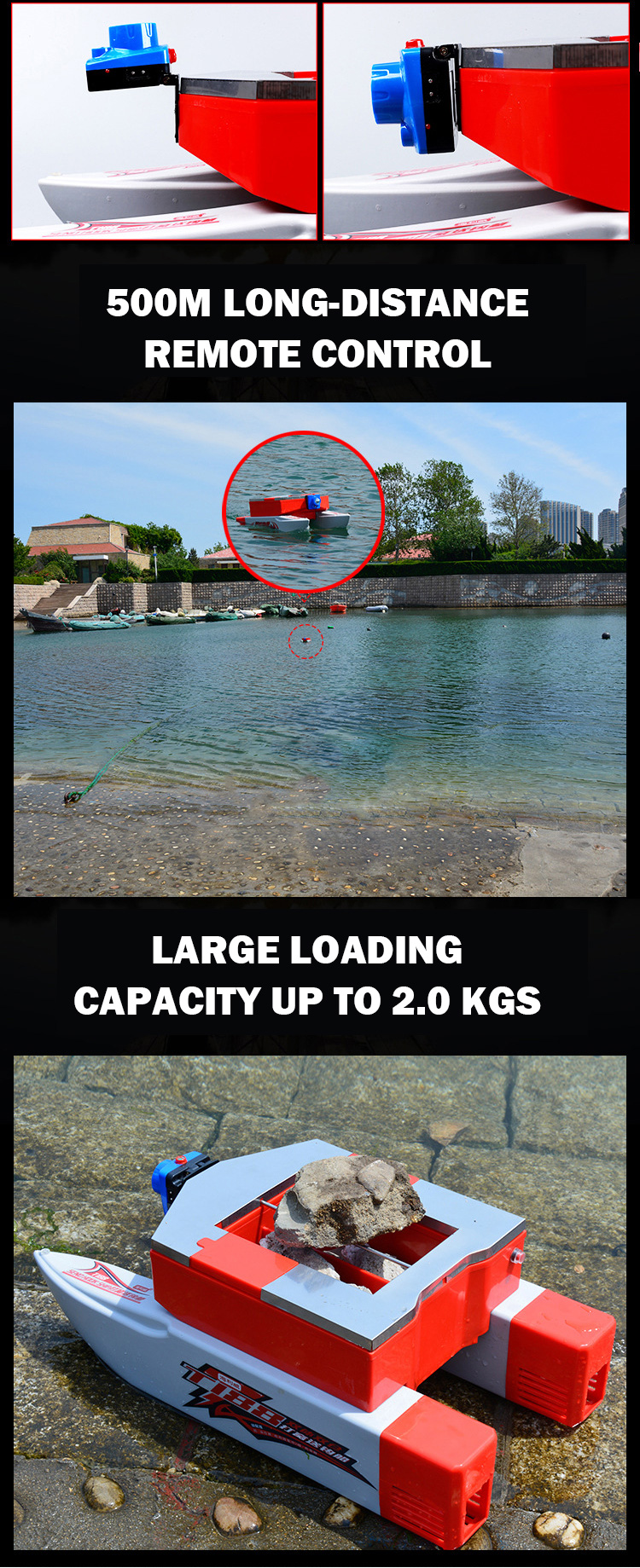 FREE SHIPPING Europe 500M 2.6L fish tackles feeding nest lures bait catamaran dual hulls electric rc fishing boat