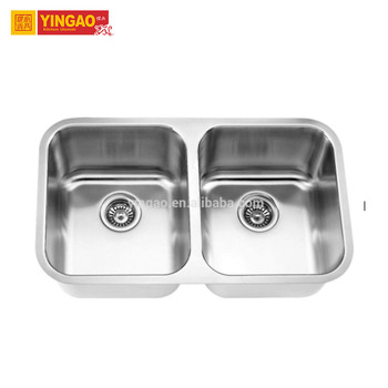 T3118C bathroom double sink vanity corner stainless steel sink machine