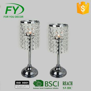 Modern Style K5 Crystal Wedding Table Candleholder With Chrome Plated Metal Ch-31703