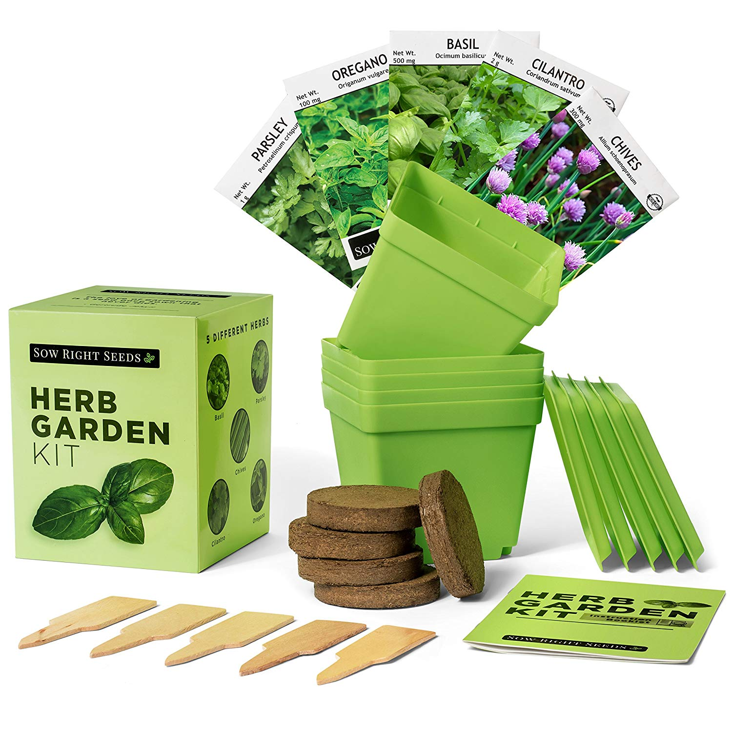 Indoor Herb Garden Starter Kit - Full Size Seed Packets of Basil, Chives, Cilantro, Oregano & Parsley - Everything You Need to Grow Herbs in Your Kitchen - Soil, Reusable Pots, Trays, Plant Markers,