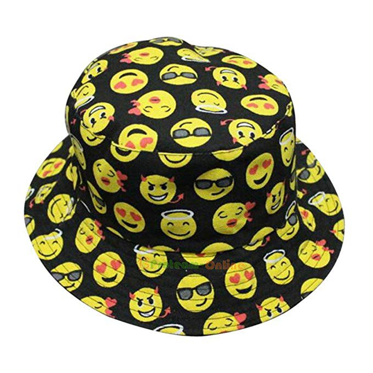f42c3d61d66 Adult Novelty Funny Trending Emoji Emoticons Happy Angry Faces Printing Bucket  Hat