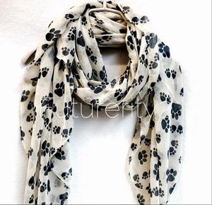 wholesale spring summer scarf 2018 cute dog paw printed voile Shawls infinity scarves