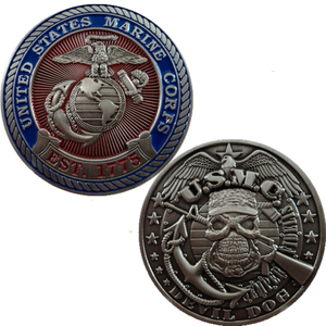 Customizable Commemorative Coin 3D Soft Enamel US Marine Corps MIlitary Challenge Coin
