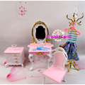 Free Shipping 4 Items Dresser Set Miniature Dollhouse Furniture for Barbie Doll Best Gift Toy for