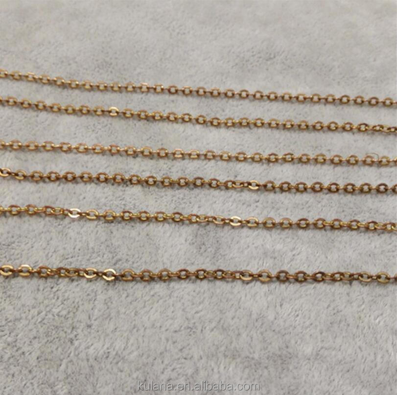 Wholesale 2.0 <strong>flat</strong> O word chain brass chain DIY jewelry accessories