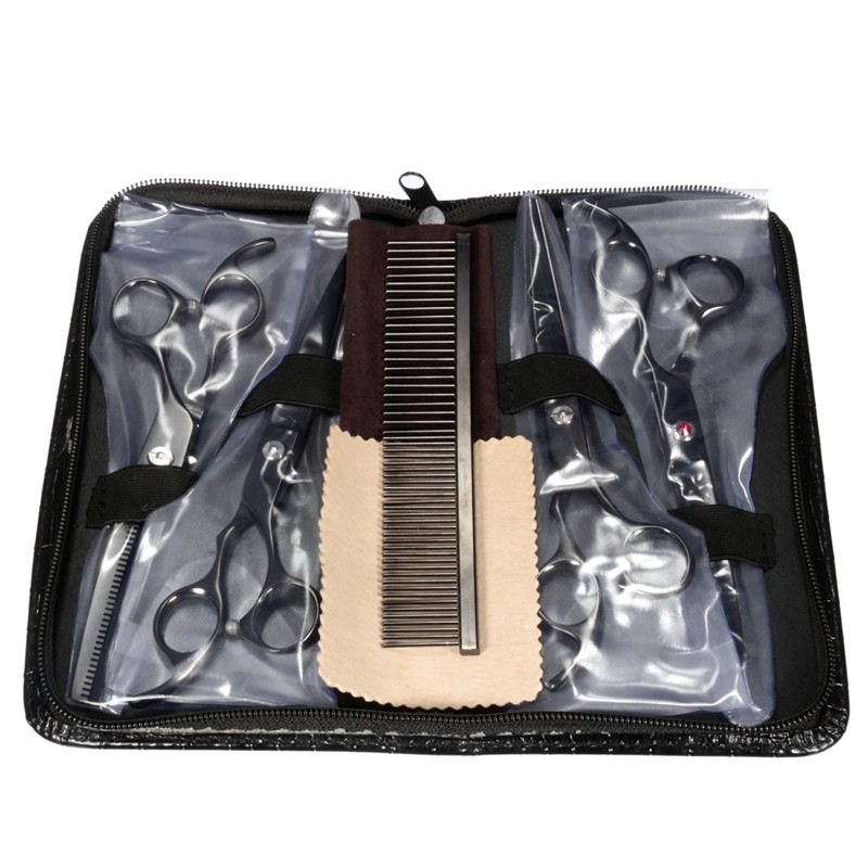 Best Price Good Quality One Set Black Steel Professional Pet Scissors Kit Sharp Edge <font><b>Dog</b></font> Cat 4pcs Grooming With Storage Bag