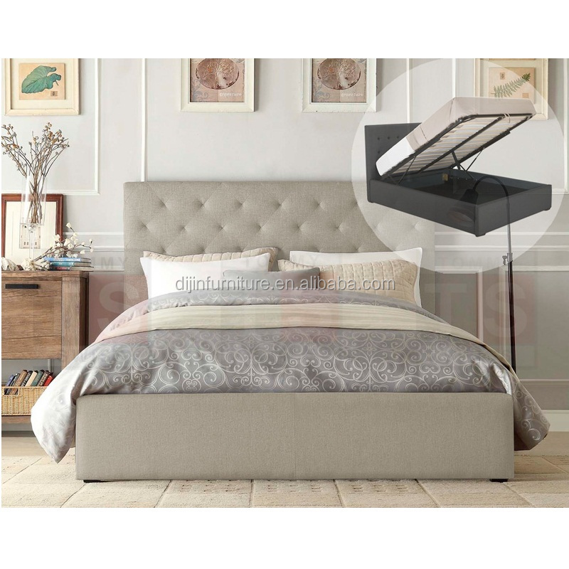 White Modern Headboard Tufted Fabric Storage Upholstered Bed
