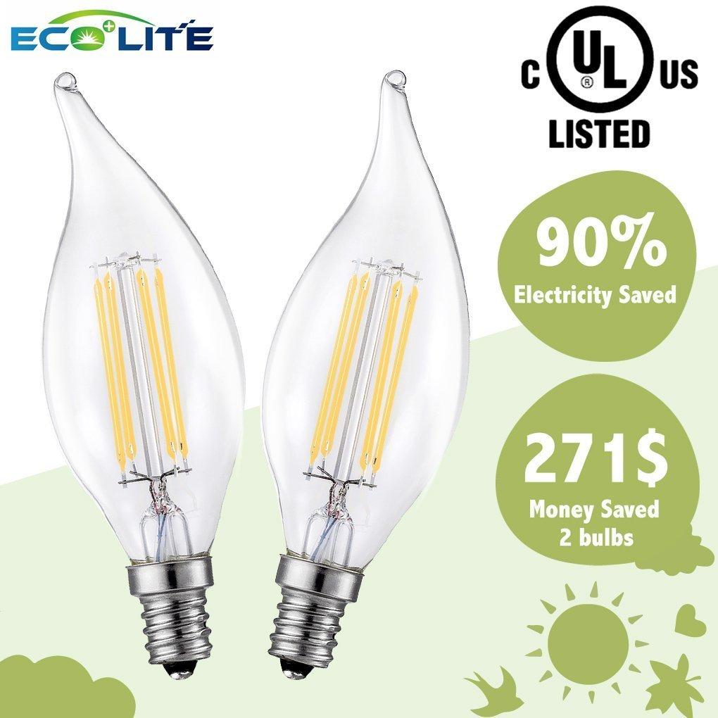 LED Candelabra Bulb -Dimmable-3.5 watt- 2700K- Warm White-Flame Tip-E12-LED Filament Lighting Bulbs- Equivalent 40 Watt Traditional Bulbs- Incandescence Bulb Replacement-2 Pack