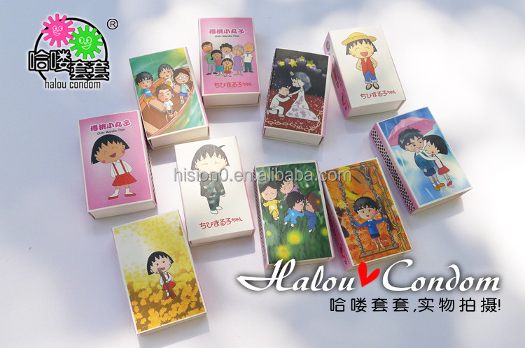 HS-SC163 Creative Good Price Condom Cute Cartoon Picture Match Box Packaging Soft Vaginal Lubricating Condom Latex Condom