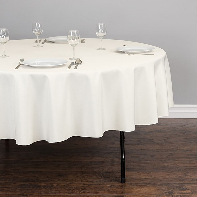 90inch Round Table Cloths Table Linen Polyester Ivory For Hotel
