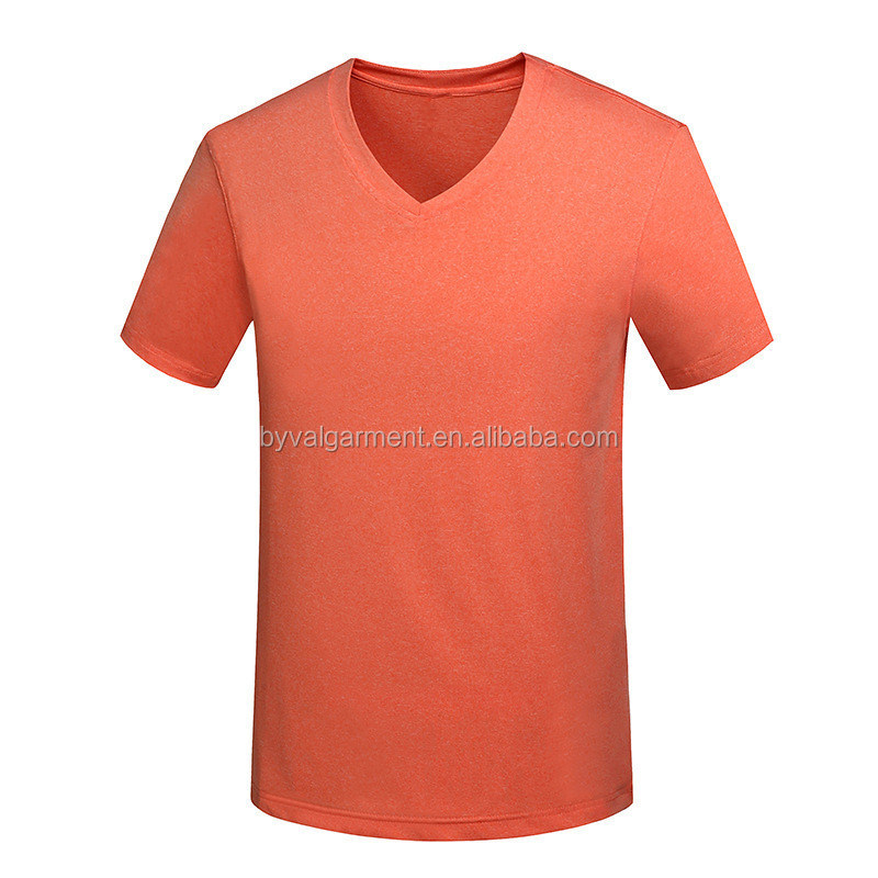Mens 100% Polyester Cationic Dri Fit Moisture Wicking Sports Running T Shirts V Neck Custom Printing Cycling T Shirts Wholesale