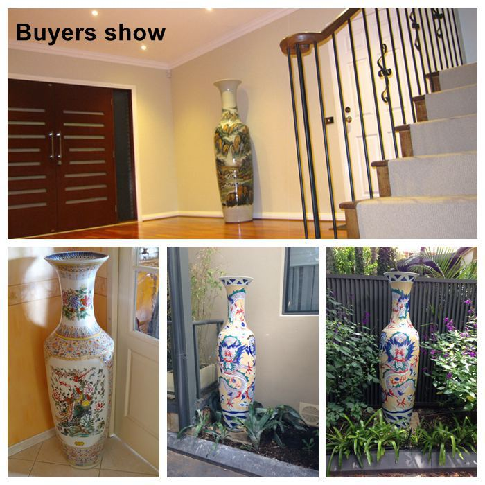2 2 Meter And 6 Feet Tall Hand Painted Large Chinese Ceramic Floor Vases As Home Decorations