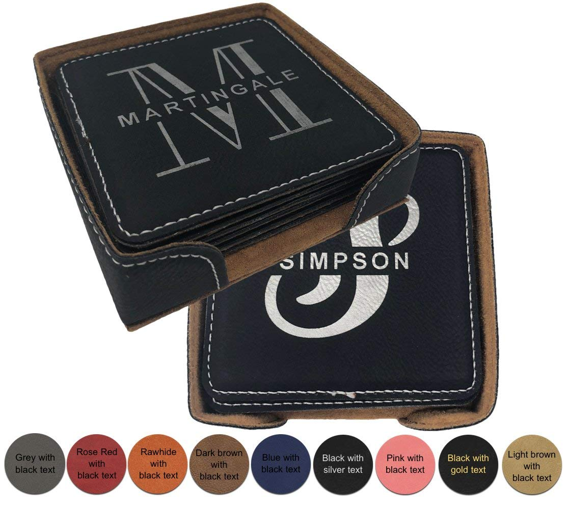 Personalized Leatherette Name Coaster - Set of 6 with holder. FREE ENGRAVING by Griffco (Blue w/ black text)