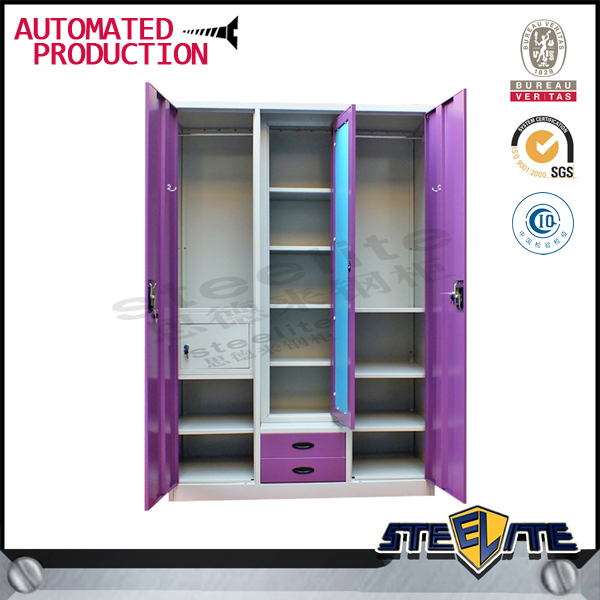 Steel Almirah Cabinet / Bedroom Wardrobe Sliding Mirror Doors