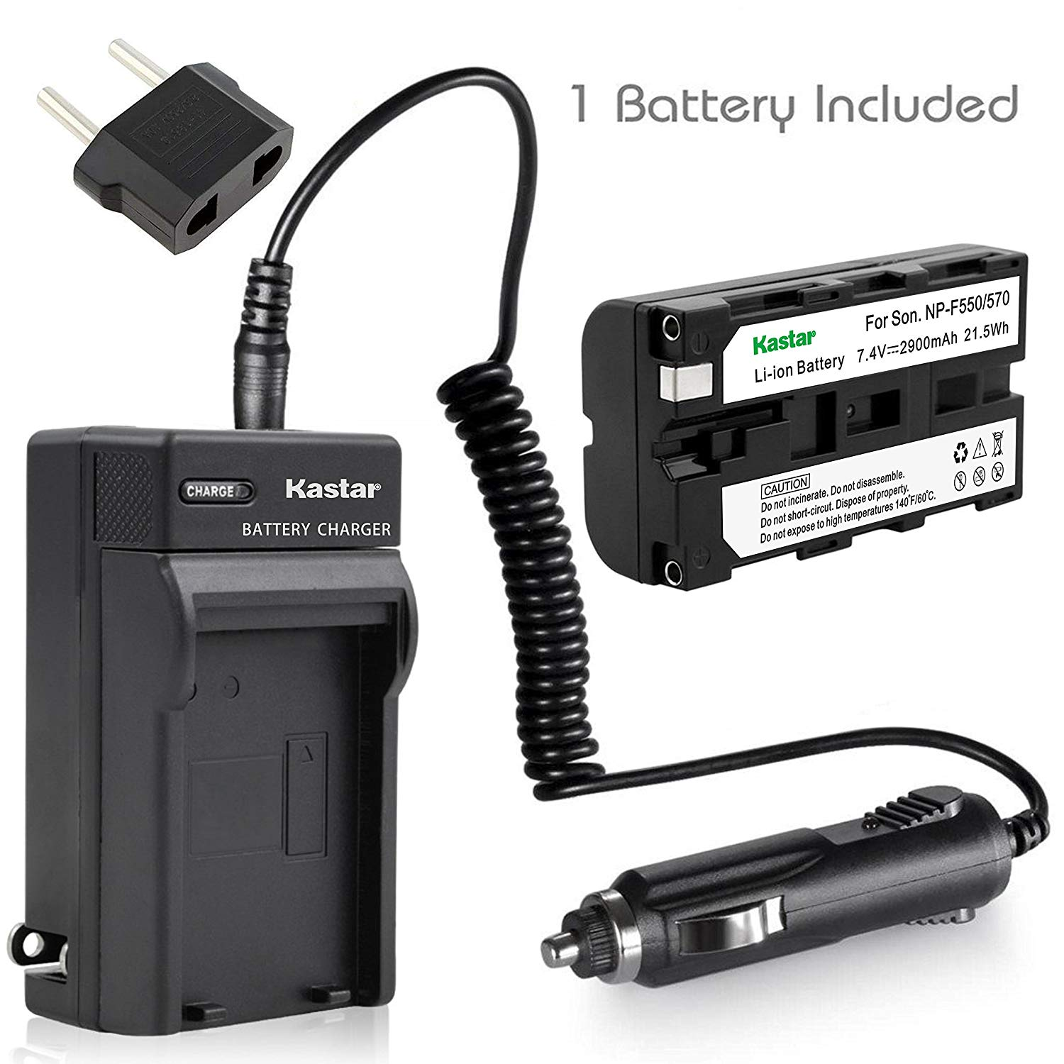 Kastar Battery and Charger for NP-F570, NP-F550, NP-F530, NP-F330 and Sony CCD-RV100, CCD-RV200, CCD-SC5, CCD-SC6, DSC-D770, D-V500, EVO-250, GV-A100, GV-A500, HDR-AX2000, HXR-NX5, HXR-NX5U, NEX-FS100