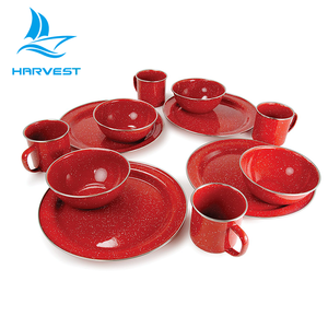 12 Pieces Snowflakes Glaze Design Outdoor Enamel Camping Dinner Set