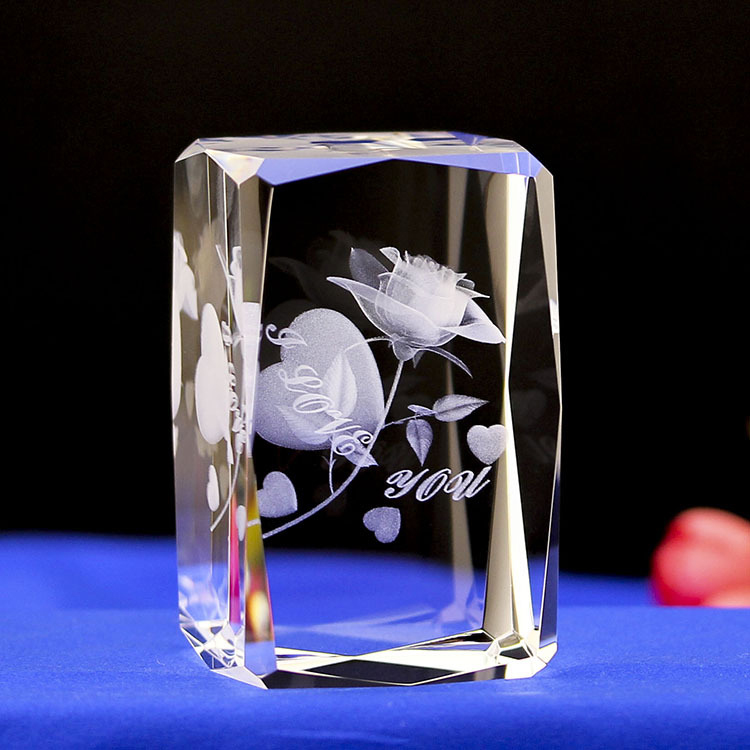 K9 3d laser engraving rose crystal gift for Valentine's Day