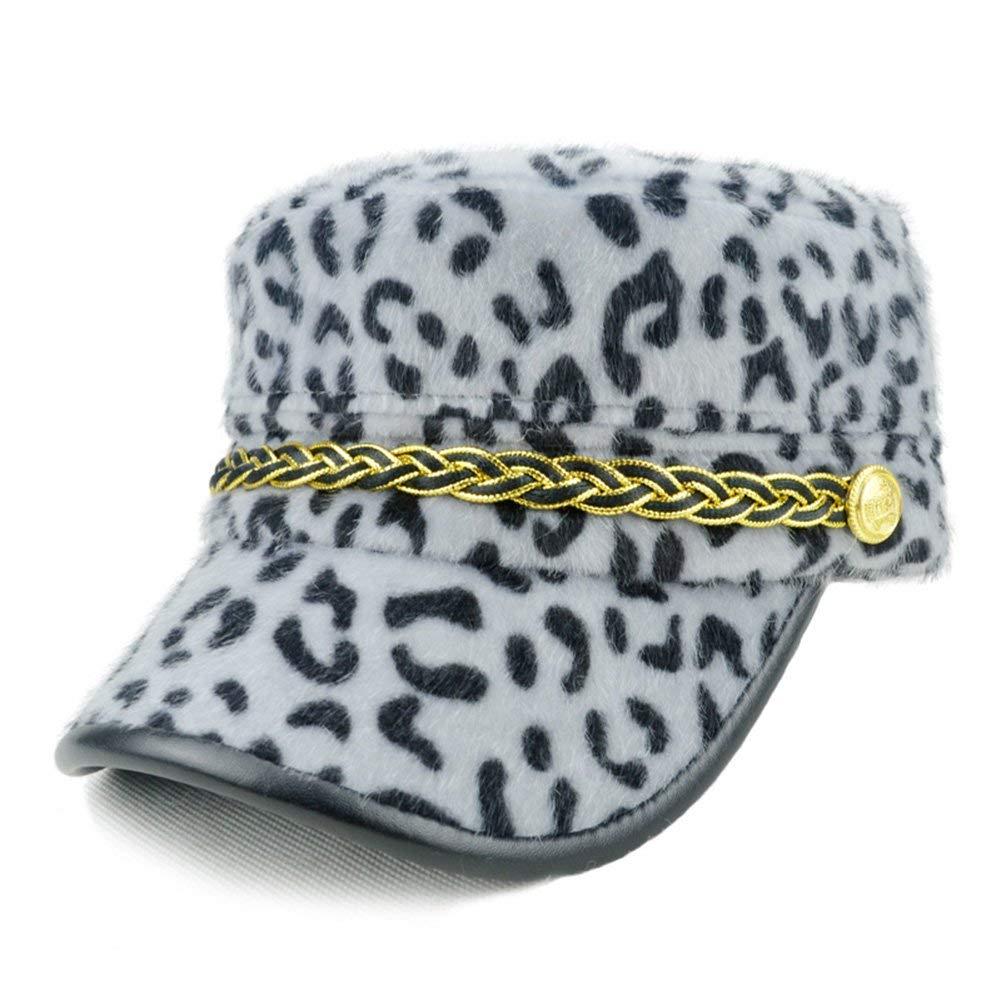ac86a3403903c Get Quotations · W Hstore Women Girl Leopard Print Army Berets Fashion Caps  Fidel Patrol Fur Hats