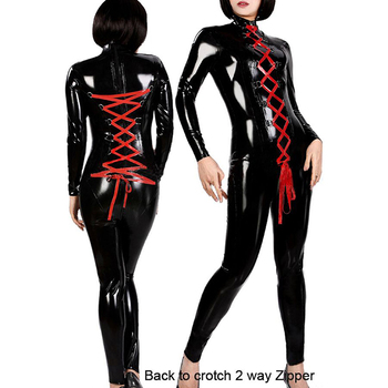 Women Wet Look Shiny  Sexy Lace-up Long Sleeve Leather Jumpsuit Latex Catsuit Bodysuit Catwoman Costume
