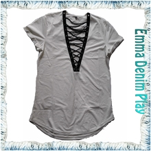 Ladies Sexy Longline Black Lace Decorated White T-Shirt